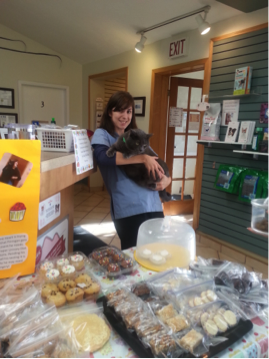 Finnigan the cat with North Town Veterinary Hospital staff